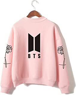BTS Kpop Unisex Sweatshirt Round High Neck Pullover Casual Printed Love Yourself Hoodie
