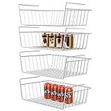 Under Shelf Basket, GSlife 4 Packs Under Shelf Storage Wire Basket Stable Hanging Basket for Kitchen, Office, Pantry, Bathroom, Cabinet,White