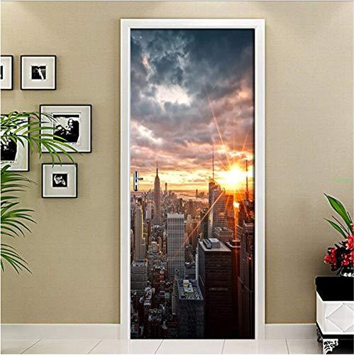 New York City Landscape Art 3D Etiqueta de la puerta Material de PVC Impermeable Puerta Cartel Etiqueta de la pared Sticker Decal Para la decoración de la sala de estar decoración