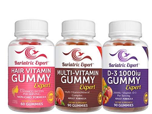 Bariatric Multivitamin 3 Pack, Multivitamin Gummy 90 Chews. - D3 Gummy 90 Chews.- Hair Vitamin Gummy 60 Chews.