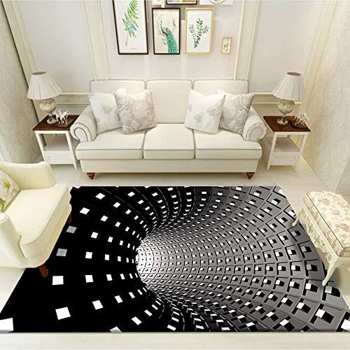 Teppich Wohnzimmer Schlafzimmer Kurzflor Modern Marokkanisch Geometrisch Dreiecke Gitter Muster Teppiche 3D Vortex Illusion Teppich rutschfeste Bodenmatte Sofa Matte Bettvorleger P 180x280CM