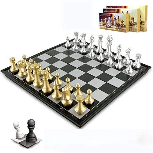 VHGYU Tablero de ajedrez Ajedrez magnético Juego de Damas de ajedrez Plegable de Plata portátil Juego de Tablero de ajedrez Educativo Juguetes de Aprendizaje para el Club de Ajedrez Bolsas de almac