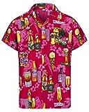Redstar Fancy Dress - Camisa Hawaiana de Manga Corta - para Hombre - Cerveza y Playa - Todas Las Tallas - Rosa - S