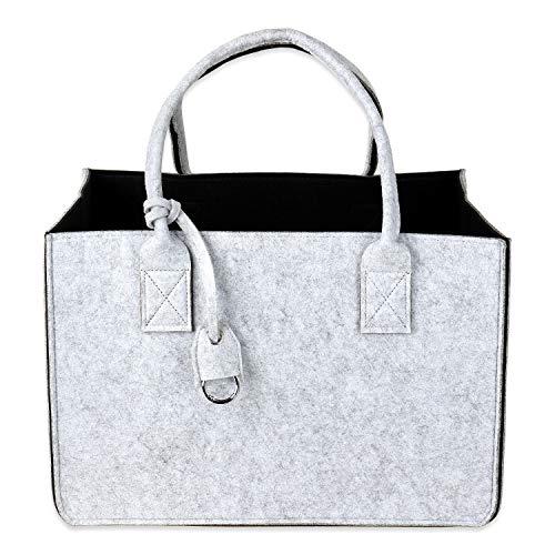 Schramm® Filztasche in 5 Farben 40x27x27cm Kaminholztasche Einkaufstasche Aufbewahrungstasche Filz Tasche Filztaschen, Farbe:schwarz