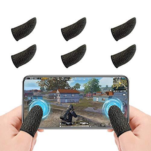 Newseego PUBG Mobile Game Finger Sleeve[6 Pack], Touchscreen Fingerhülse Atmungsaktiv Ultradünn Anti-Sweat Fingerset Empfindliche Shoot-&Ziel-Tasten für Überlebensregeln/Knives Out für Android & IOS