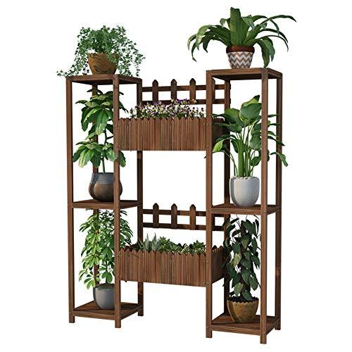 VZXFYG Soporte para plantas con 3 niveles de madera para balcón con estante de almacenamiento al aire libre (tamaño: 120 cm)