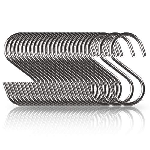 Annaklin S Hooks 24 Pack Stainless Steel S Shaped Hook for Hanging in Kitchen, Bathroom, Bedroom, Office, Workshop, Garden, Small 2-3/16