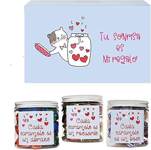 SMARTY BOX Caja Regalo Caramelos y Gominolas San Valentín, Cumpleaños Aniversario Pareja, Enamorados, Cesta Golosinas Originales Chuches sin Gluten, Fabricado en España