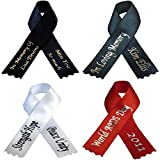 Personalized Memorial Ribbon Bow Pin Custom Printed Funeral Awareness Celebration of Life Domestic Abuse Drug Use Breast Cancer Mental Health Domestic Violence