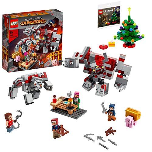 【メーカー特典】レゴ(LEGO) マインクラフト レッドストーンの決戦 21163 + クリスマスツリーミニセット付き