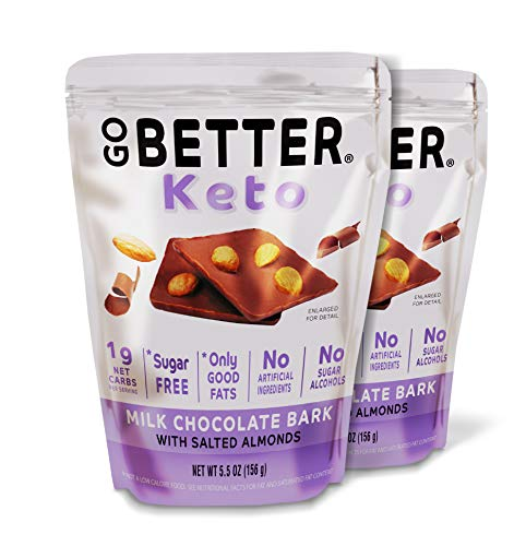 GO BETTER Keto Bark | Milk Chocolate with Dry Roasted Salted Almonds | 1 Net Carb, Gluten Free, Sugar Free Chocolate Candy | Healthy Keto Snacks Made with No Artificial Ingredients | 2 Bags