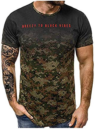 refulgence Men's Sport Short Sleeve Top Camouflage O-Neck Fit Blouse Crew Athletic Muscle T-Shirts