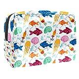 Bolsa de maquillaje portátil con cremallera bolsa de aseo de viaje para mujeres práctico almacenamiento cosmético bolsa de pescado colorido gancho caracol pulpo