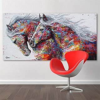 Painting & Calligraphy - Oil Painting Colorful Running Horse Wall Multi Combination Canvas Paintings For Living Room Home ...
