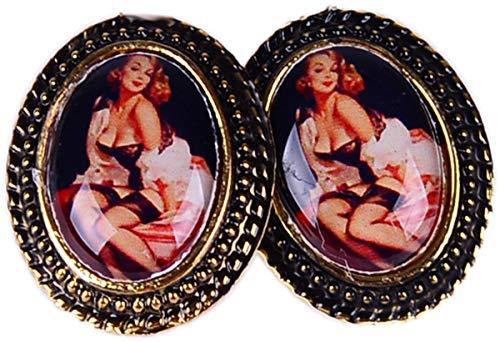 Unbekannt Damen Ohrstecker Pin Up Girl Kamee Vintage 50s Ohrringe Breite 1,8cm, Höhe 2,3cm
