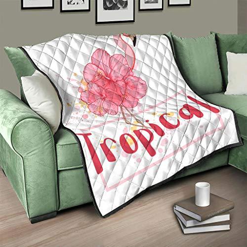 Colcha tropical con flamencos y flores, para cama o sofá, para adultos y niños, color blanco, 230 x 280 cm