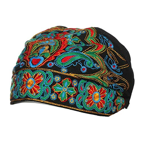 IUSGAND New Vintage Mexican Style Embroidery Flowers Bandanas Red Print Hats Hair Band Ethnic Caps Fedoras Apparel Accessories black