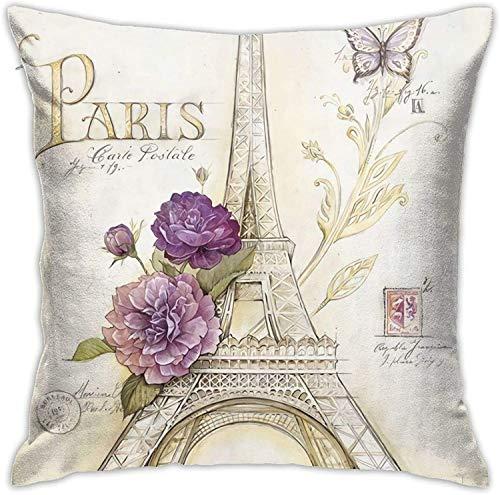 MODORSAN Butterfly Paris Throw Pillow Covers Funda de Almohada Decorativa con Cremallera Oculta Cuadrada de 18 x 18 Pulgadas de poliéster