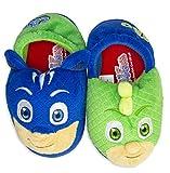 PJ Masks Boys Slippers Catboy and Gekko,Slip on Plush Slippers for Toddlers,Blue Green,Blue Green, Toddler Size 9/10