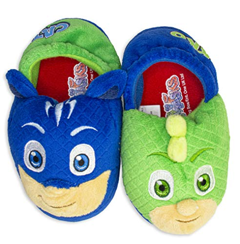 PJ Masks Boys Slippers Catboy and Gekko,Slip on Plush Slippers for Toddlers,Blue Green,Blue Green, Toddler size 7/8