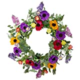 """LAVERNE'S FLOWER 22"""" Front Door Wreath Spring Wreaths for All Seasons Flower Wreath for Outdoor Indoor Window Fireplace Home Decoration, Lilac Flower"""