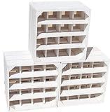 Botellero '16ER' de color blanco, tamaño 40 x 40 x 27 cm, estante para botellas de vino, caja de manzana/caja de vino, madera, Llamado, 3er set Weinregal 16er weiss