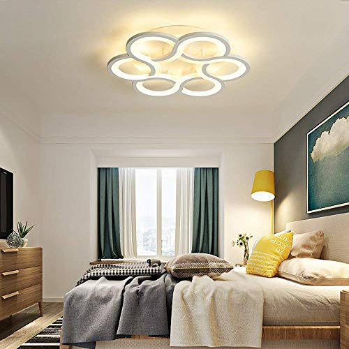 XZJJZ Modern Minimalist Living Room Bedroom Connection Ring LED Ceiling Lamp Stepless Dimming Creative Home Restaurant Hotel Decoration Lamp (Size : 42 * 42 * 7cm)