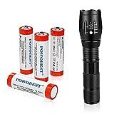 Juego de linterna LED con 4 pilas recargables 18650, 3,7 V, con botón superior, linterna de bolsillo, 5 modos de luz para camping, ciclismo, correr, pasear al perro y más al aire libre