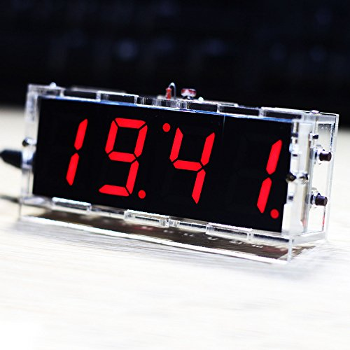 DIY Digital LED Clock Kit Compact 4-digit Light Control Temperature Date Time Display with Transparent Case (Red)