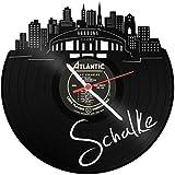 Skyline Schalke 2018 Wanduhr aus Vinyl Schallplattenuhr Upcycling Design Uhr Wand-Deko Vintage-Uhr Wand-Dekoration Retro-Uhr Made in Germany