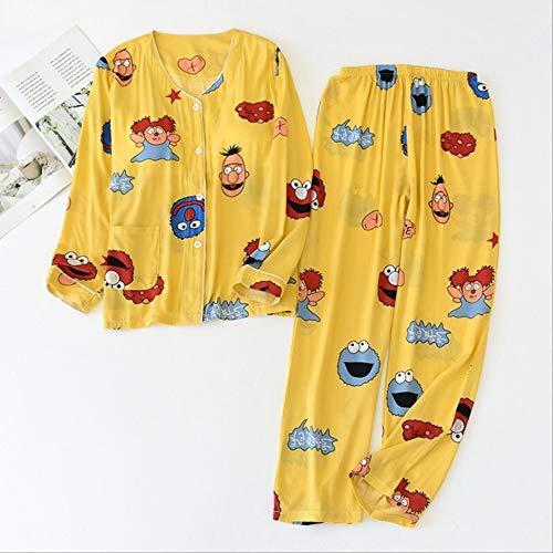 XFLOWR Schlafanzug aus Baumwolle mit Blumenmuster, für Damen, einfacher Stil, Frühling und Sommer, lange Ärmel, Cardigan+ Hose, lose Hausbekleidung, Sesamstraße-Gelb, M
