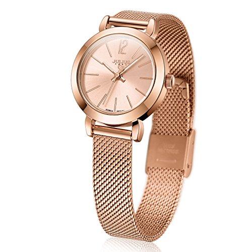 JULIUS JA-732 Reloj de moda para mujer, color oro rosa, cuarzo, analógico, malla de acero inoxidable