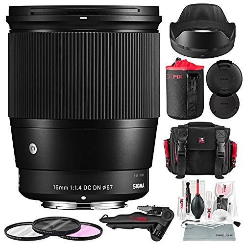 Sigma 16mm f/1.4 DC DN Contemporary Lens for Sony E + Xpix Camera Case + Lens Pouch + Xpix Cleaning kit
