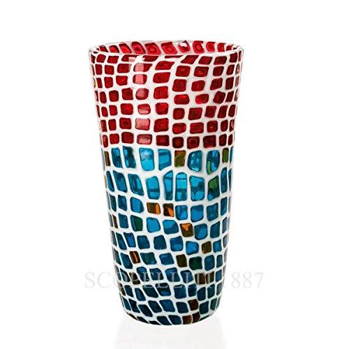Venini Vase Ravenna mit Mauerwerk, Farbe: Milch/Rot/Bernstein/Aquamarin aus mundgeblasenem und handgearbeitetem Glas