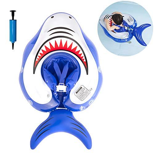 Myir JUN Flotadores para Bebes, Tiburón Inflable Flotador Ajustable Inflable Doble Airbag Flotador Cuello Bebes Flotadores Piscina para 3 Meses-3 Años