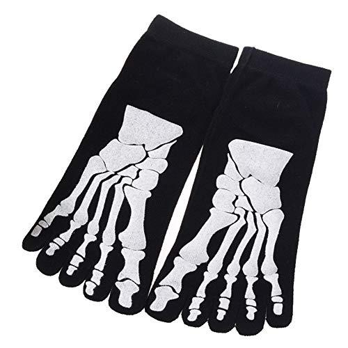 U/K Pulabo - Calcetines para hombre, diseño único de calavera, cinco dedos, cómodos, con dibujos animados, 5 dedos, informales, de algodón, para el hogar, creativos y prácticos