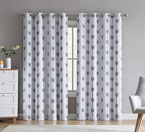 HLC.ME Arrow Printed Privacy Blackout Energy Efficient Room Darkening Thermal Grommet Window Curtain Drape Panels for Kids Bedroom - Set of 2 - Platinum White/Grey - 84