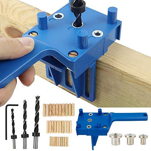 41 plantillas de perforación para tacos, kit de plantilla de pasador de carpintería con agujero recto con corazón torneado 6/8/10 mm para pasador de madera a mano (azul)