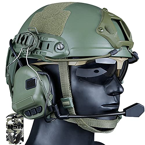 Fast Tactical Helmet, Military Noise Reduction Headset & SWAT Protective Goggles Sets, with NVG Holder And Side Rail, for Airsoft Paintball Outdoor Activity,Sets MAX,BK