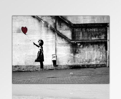 fotoleinwand24 ps-art Banksy - Stampa su tela da parete, 120 x 80 cm, già montata sul telaio, da parete, decorativa, stile Pop Art
