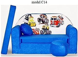 ItalPol Produkt Sofa Children Sofa Cushion and Puff Mini Sofa transformabile Cot Bed