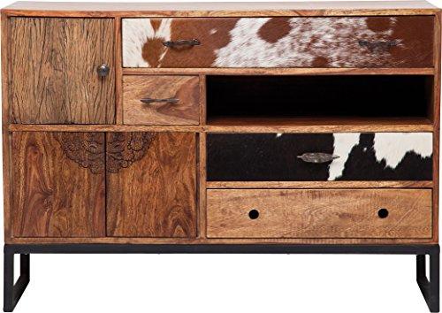 Kare Design Sideboard Rodeo, moderner, rustikaler Kommodenschrank mit 4 Schubladen und 3 Türen, Braun (H/B/T) 80x115x40cm