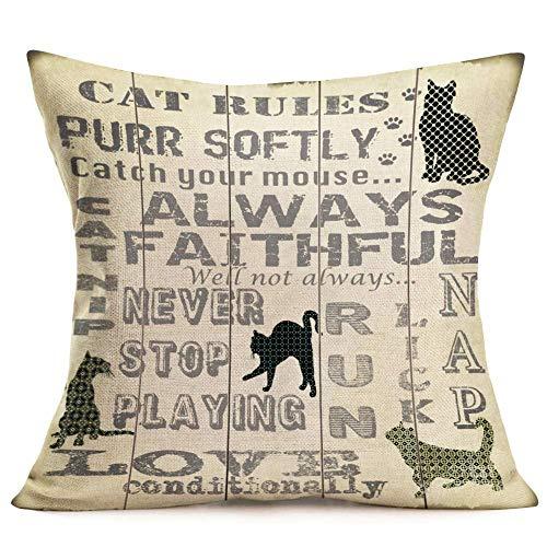 ArthuereBack Cat Rules kussensloop rustig snurken, liefde kattenliefhebbers decoratieve kussens geschenken liefde huisdieren om te spelen