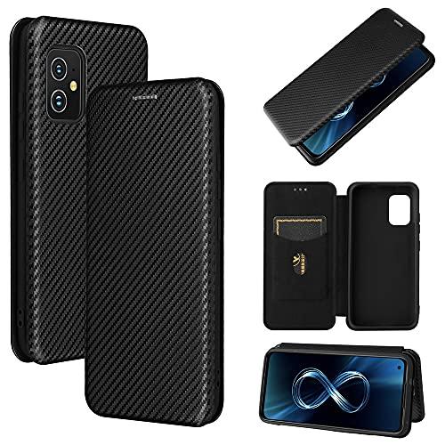 Funda de fibra de carbono para ASUS Zenfone 8 ZS590KS ZS590 KS 8Mini Funda de piel con ranuras para tarjetas Soporte ASUS Zenfone8 8 Mini Flip Covers Cases (negro, Zenfone 8Mini)