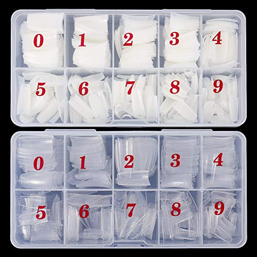 Bacsw 1000 Stück Nageltips Französisch Acryl Künstliche Nägel Kunst Nail Tips, Fake Nägel Tipps Acrylic Nail Tips mit Box für Frauen Mädchen