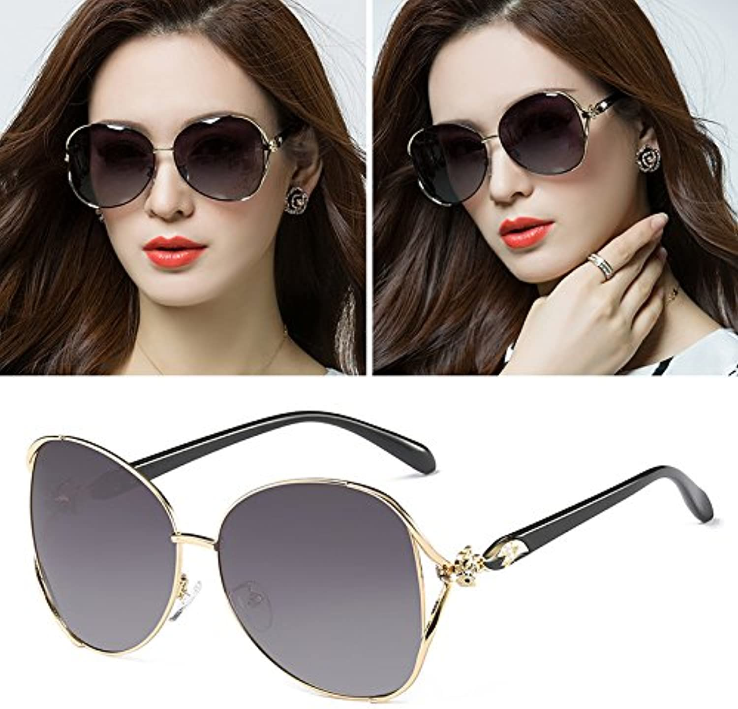 Sunyan The new high gloss sunglasses round face sunglasses female tide stars, glasses box with square face a red long face