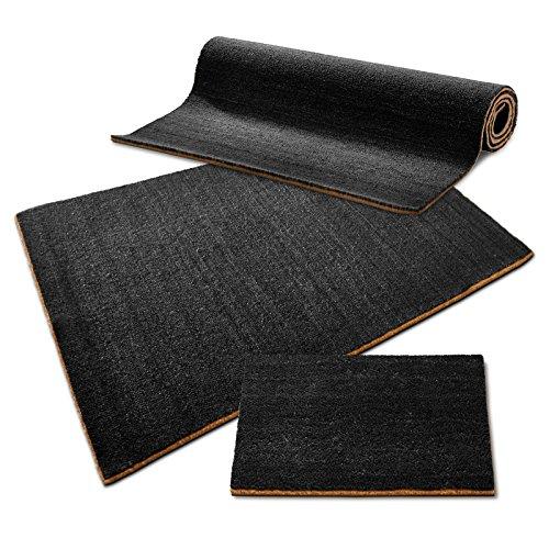 casa pura® Kokosmatte Meterware | auch für großflächige Eingangsbereiche | schwarz | viele Höhen und Größen (17mm, 180x200cm)