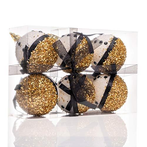 Nataland Confezione 6 Palline Natalizie Oro e Nero Diametro 9 Cm Decorate A Mano, Box Sfere Perfette Come Addobbo e Decoro per Albero di Natale e Casa (6 Sfere - 9 Cm, Modello 2)