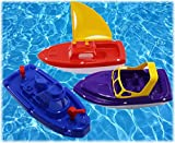 Matty's Toy Stop Plastic Boats Set Sailboat (Red), Speedboat (Purple) & Fireboat (Blue) Gift Set Bundle, Perfect Bath, Pool, Beach Etc. - 3 Pack
