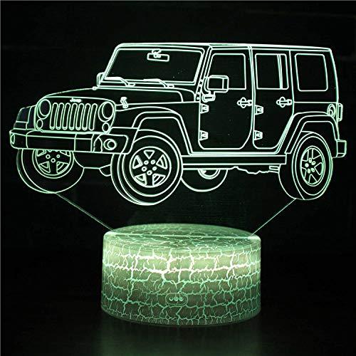 Lámpara LED 3D ilusión luz nocturna 3D SUV 2, cargador USB, juguetes bonitos, regalos de cumpleaños, vacaciones, Navidad para bebé